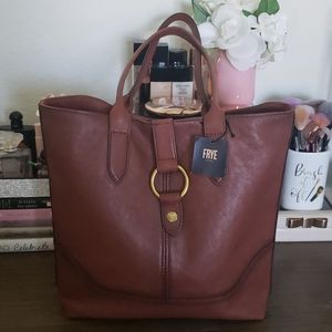 NWT Frye Leather Ring Tote Cognac